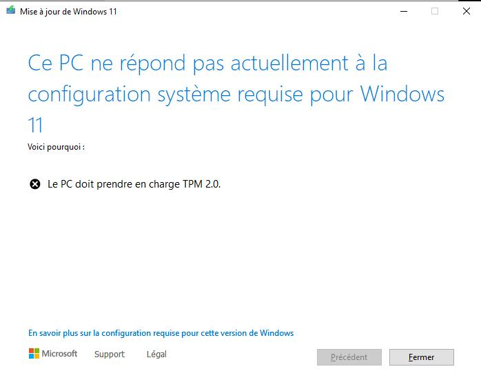 Installer Windows 11 Sans TPM