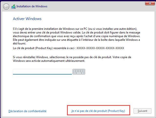 installer windows 11 avec clé usb